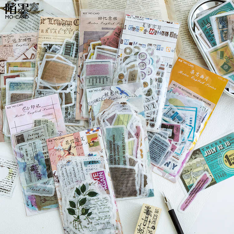 60pcs/pack Vintage English Alphabet Adhesive Stickers Decorative Album Diary Stick Label Paper Decor Stationery Stickers
