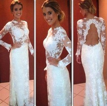 White Sheer Jewel Appliqued Long Sleeve Keyhole Back Evening Party Dresses plus flounce sleeve keyhole back floral top