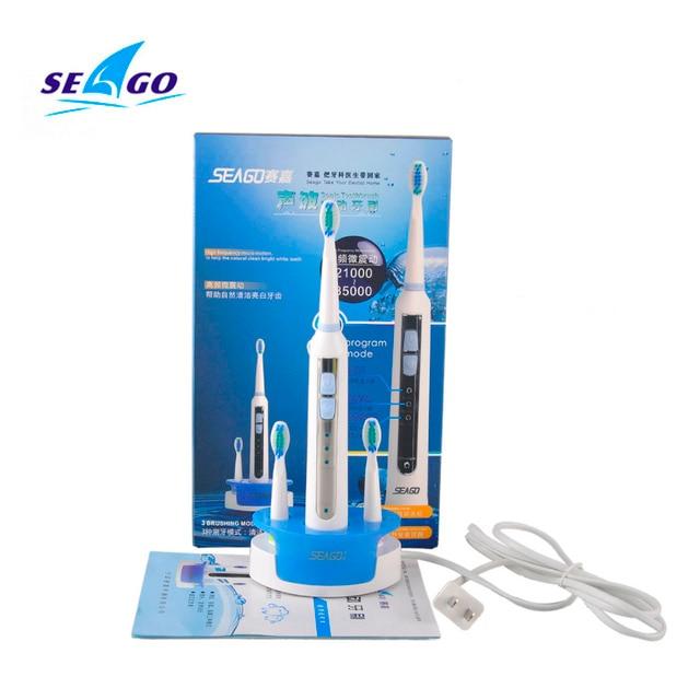 Соник Электрическая Зубная Щетка ультразвуковая Зубная щетка уход за полостью рта гигиены Индуктивной зарядки Моющиеся Seago SG-909