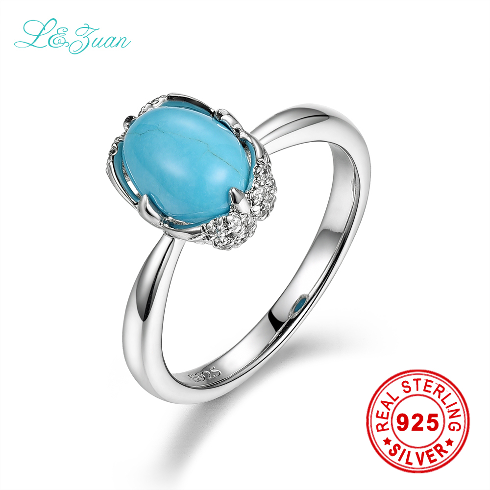 цена на I&zuan 925 sterling silver Natural 1.54ct Turquoise Blue stone Prong Setting Classic Ring Jewelry gift