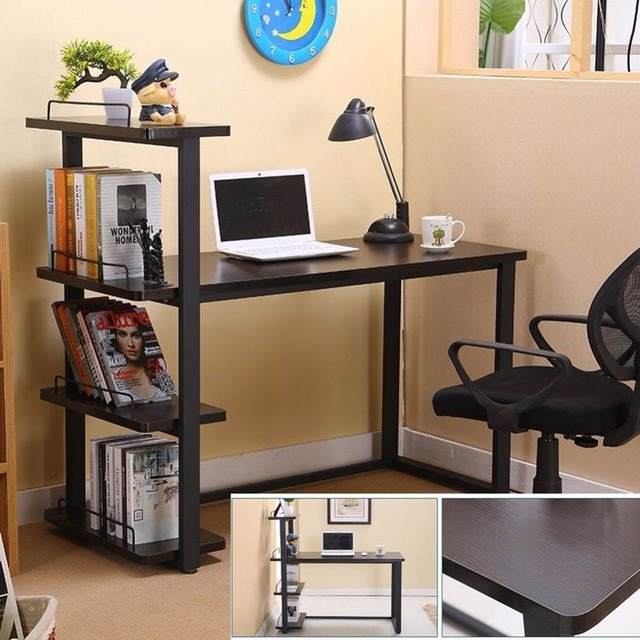 Modern Home Office Desk Corner Computer PC Table Workstation With Bookcase  Shelf Office Furniture HOT SALE