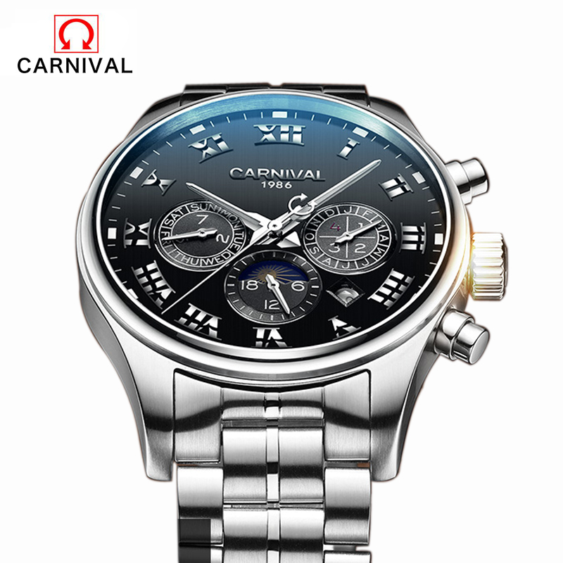 Automatic Watch Men Switzerland Watches Top Luxury Brand Watch Carnival Steel Strap Mechanical Watch Waterproof Relogio Masculin 2017 switzerland automatic mechanical men watch sapphire stainless steel relogio waterproof mens watches top brand luxury b5005