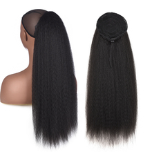 AliLeader Afro Kinky Straight Synthetic Hair Drawstring Ponytail Clip In Extensions Natural Black Puff for Women