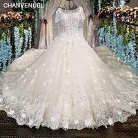LS00227 vestidos de novia 2018 sexy wedding dresses vestido de noiva lace flowers light champane o neck gown wedding dress