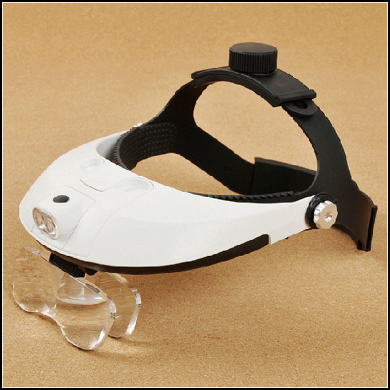 Hands Free Head Headband Helmet Magnifier Glasses Loupe Head Magnifier With LED Light and 5 lenes Magnifying Glass