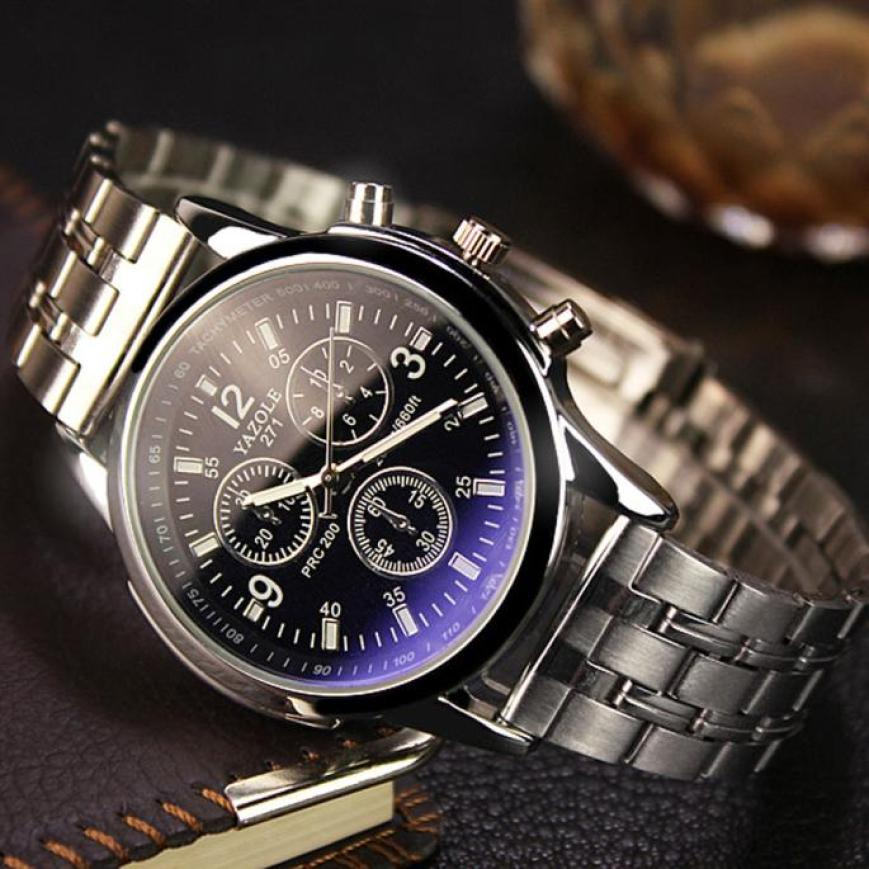 Men Watch Noctilucent Stainless Watch Fashion Watches Relogio Masculino Military Quartz Wrist Watches Hot Clock Male Sports #D