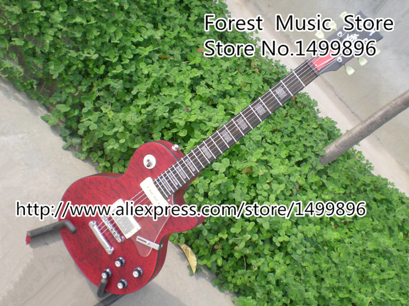 Custom Shop Reddish Brown Matte Satin Finish 22 Frets LP Custom Electric Guitar 2014 New Model China OEM Guitar Lefty Available custom shop china lp electric guitar in desert burst color quilted top guitar body lefty custom available