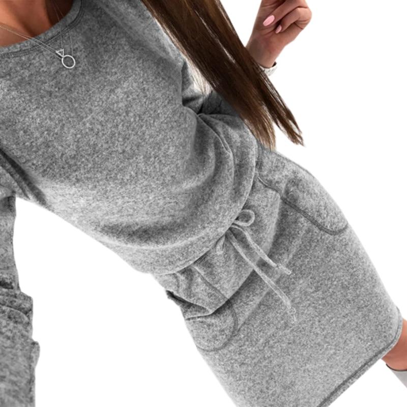 Mujeres suéteres vestido 2018 Vestido de punto Otoño Invierno manga larga Bodycon Midi vestido Vestidos de punto más tamaño GV006
