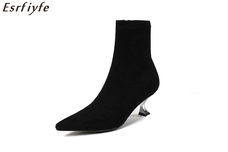 ESRFIYFE New Women Stretch Fabric Mid Calf Boots Autumn High Heels Pointed Toe Sexy Party Shoes Woman Winter Short Plush BootsESRFIYFE New Women Stretch Fabric Mid Calf Boots Autumn High Heels Pointed Toe Sexy Party Shoes Woman Winter Short Plush Boots