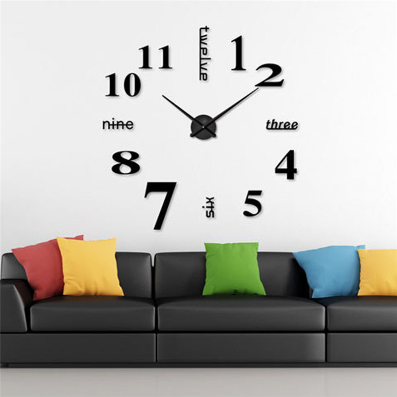 hot sale 3d diy wall clock modern design saat reloj de pared metal art clock living