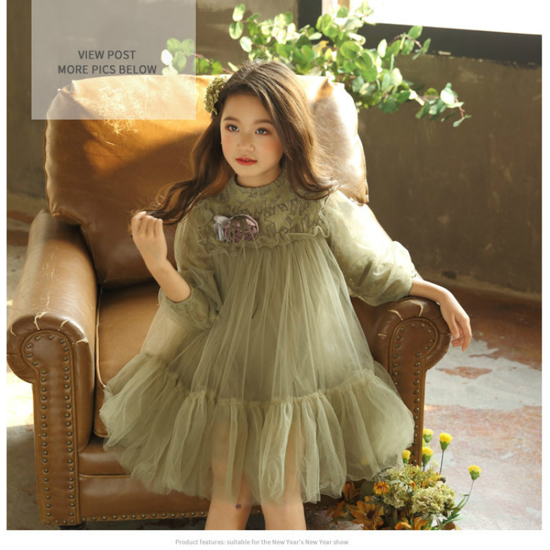 Spring Summer Girls Dress 2018 Casual Long Sleeves Lace Mesh Kids Dresses for Girl Autumn Clothing Cute Princess Dress CC679 autumn lace lower hem casual dress with sleeves