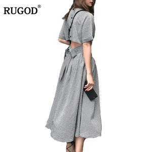 RUGOD New Arrival Sexy Hollow Out Backless Belted Cotton Dress Women Summer Casual Short Sleeve Midi Plaid Dress Vestidos Befree