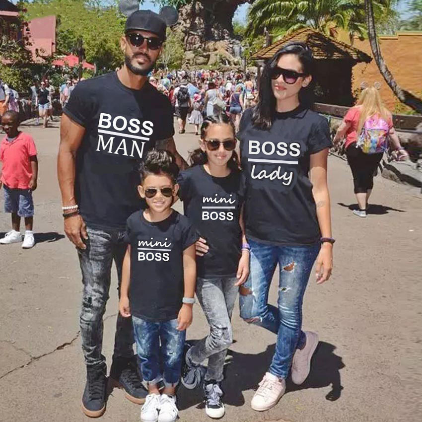 Family Matching T-Shirt Outfits Letter Mommy Daddy Baby Child Son Kid Print Gourd-Doll