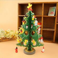 Wooden Christmas Tree Home Decoration Desk Decor Green New Year Xmas Tree Holiday Supplies L45