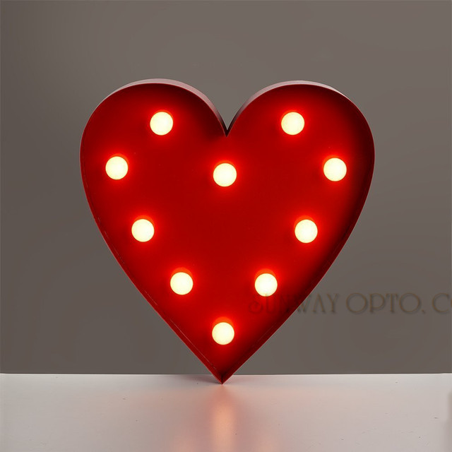 Retro Vintage Contemporary Warm White Led Battery Operated Red Heart Shaped Wall Lights For Parties