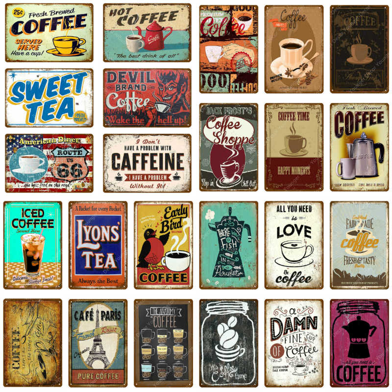 Hot Coffee Signs Sweet Tea Poster American Diner Caffeine