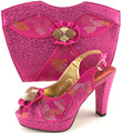 2017 New Arrival Fashion Italian Shoes With Matching Bags Set For Wedding And Party African Shoes And Bag Sets Pink 38-42 ME6607