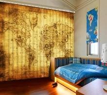 Пользовательских затемненные шторы Европейский творческий карта шторы для спальни гостиной кухня шторы 3d стереоскопический современные шторы