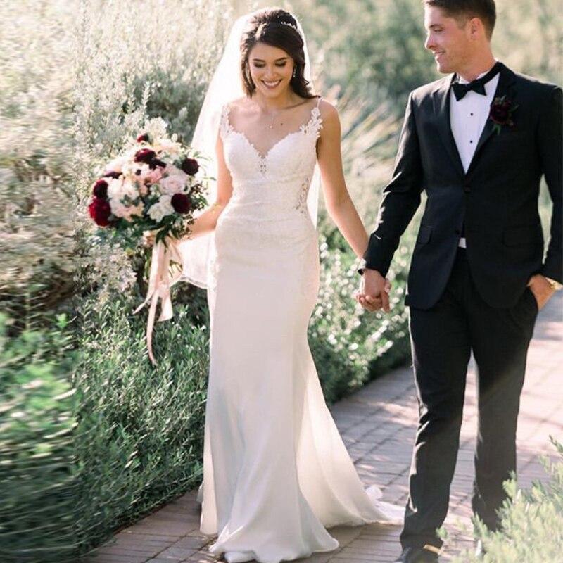 Charmant v-cou plage robes de mariée Boho appliqué gaine Spaghetti bretelles sans manches robes de mariée 2019 Simple Vestido Noiva