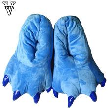 VTOTA 11 kolor śmieszne zwierzęta Paw Unisex kapcie kobiety Śliczne Monster Claw kapcie Cartoon miękkie pluszowe ciepłe domowe kapcie tanie tanio Dorosłych Slippers W VTOTA Płaskie z Odbitki zwierzęce Zima Tkanina bawełniana od 0 do 3 cm Kryty Płytkie kapcie męskie buty zimowe