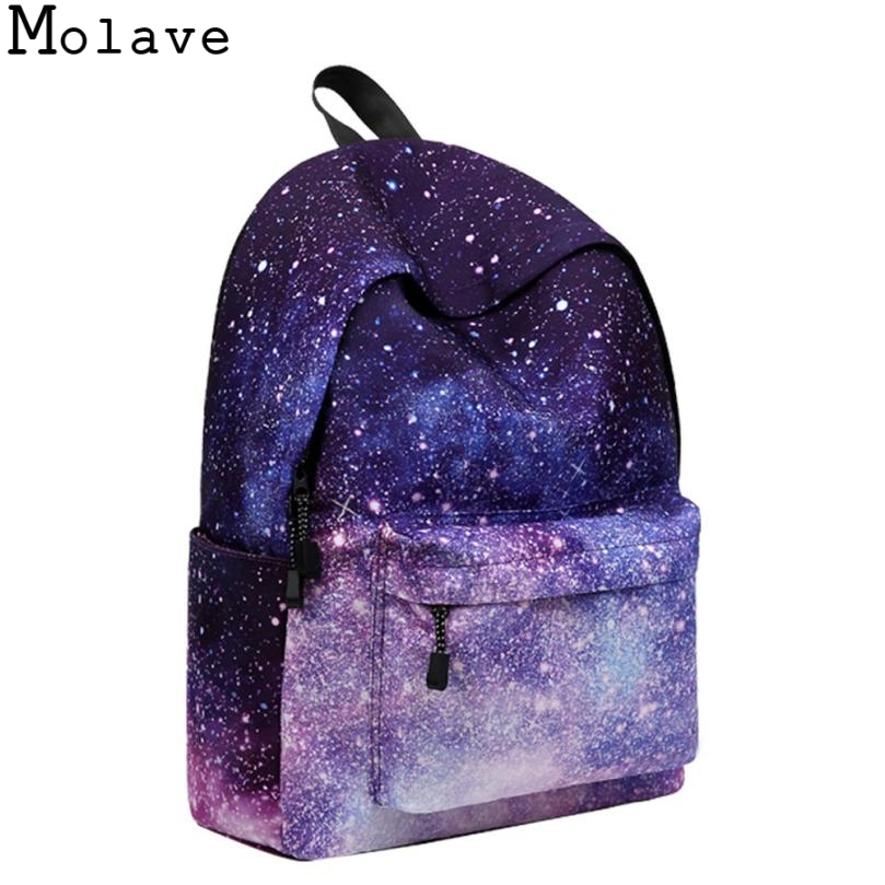 MOLAVE Women backpack for teenage girls school backpack Stars Universe Space Printing Canvas Female Backpacks for college Oct9 tangimp drawstring backpacks embroidery dear my universe cherry rocket printing canvas softback man women harajuku bags 2018