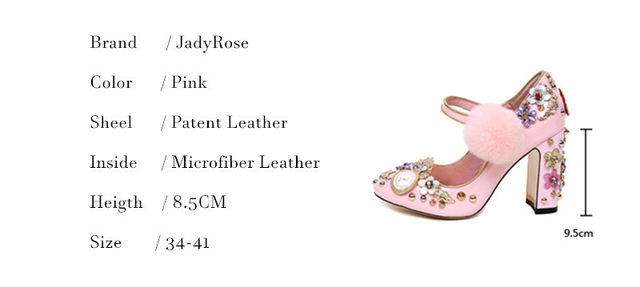 6b935f8f3112 Online Shop Jady Rose Pink Women Pumps Rivets Studded Chunky High ...