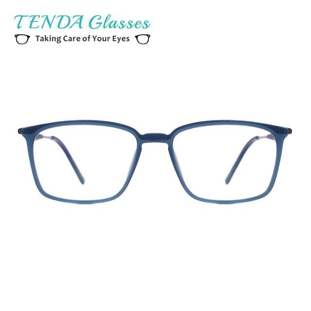 b0b4d90940c Men Rectangular Eyeglasses Frame Fashion TR90 Lightweight Spectacles Clear Glasses  Spring Hinge For Prescription Multifocal Lens