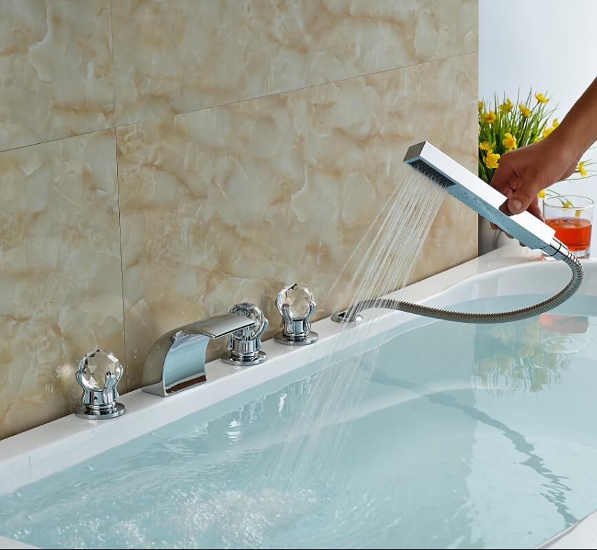 Deck Mount LED Color Changing Bathroom Tub Faucet Set Cristal ...