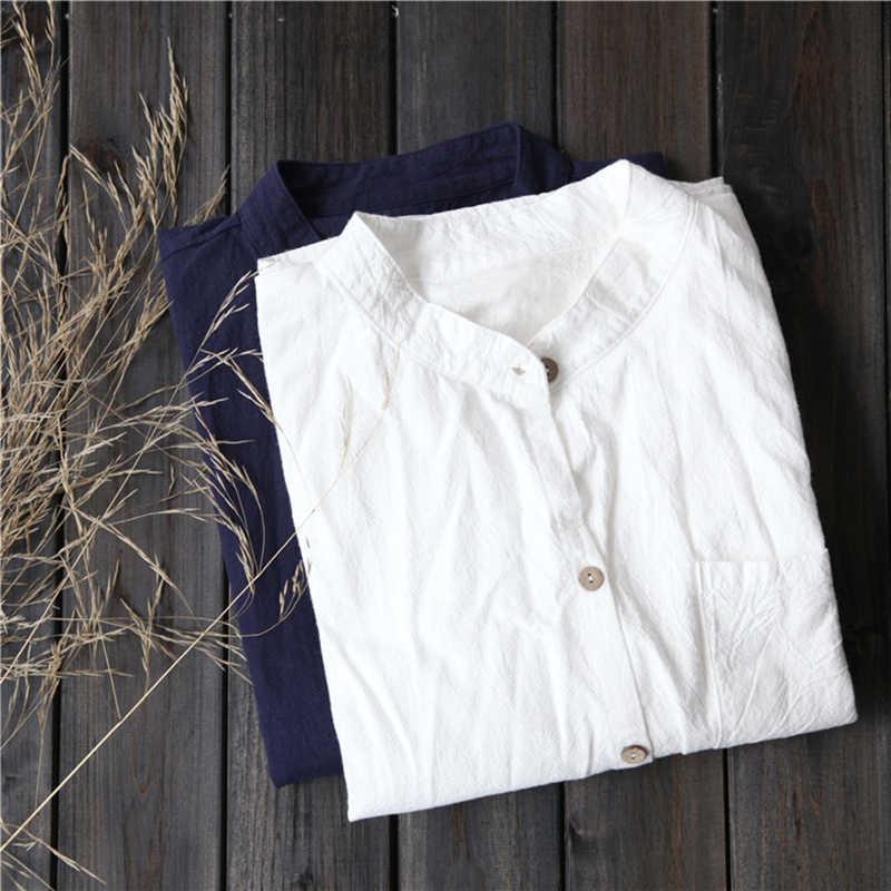 Johnature 2020 sonbahar ve yaz tiyatro pamuklu gömlek büyük boy kadın gevşek uzun kollu gömlek yaka gömlek kadın