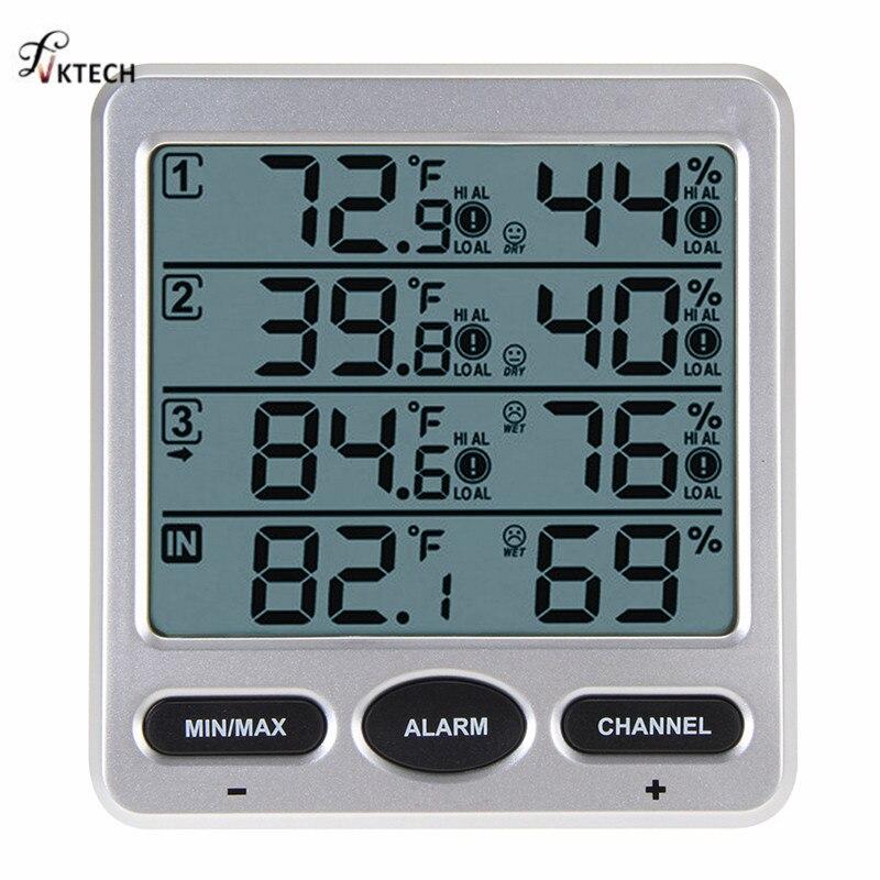 WS-10 Ambiente Estação Meteorológica Sem Fio LCD Digital Termômetro Higrômetro Indoor/Outdoor 8 Canais Thermo Higrômetro Tester