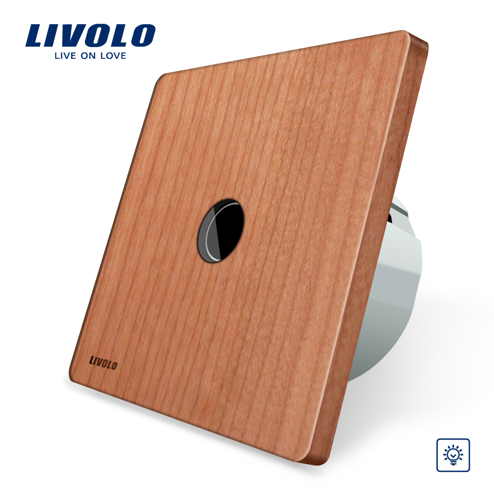 Livolo EU Standard Dimmer Switch, Wholly Original, Natural Wood Panel, Wall Light Touch Dimmer Switch,AC 220-250V VL-C701D-21 eu plug 1gang1way touch screen led dimmer light wall lamp switch not support livolo broadlink geeklink glass panel luxury switch