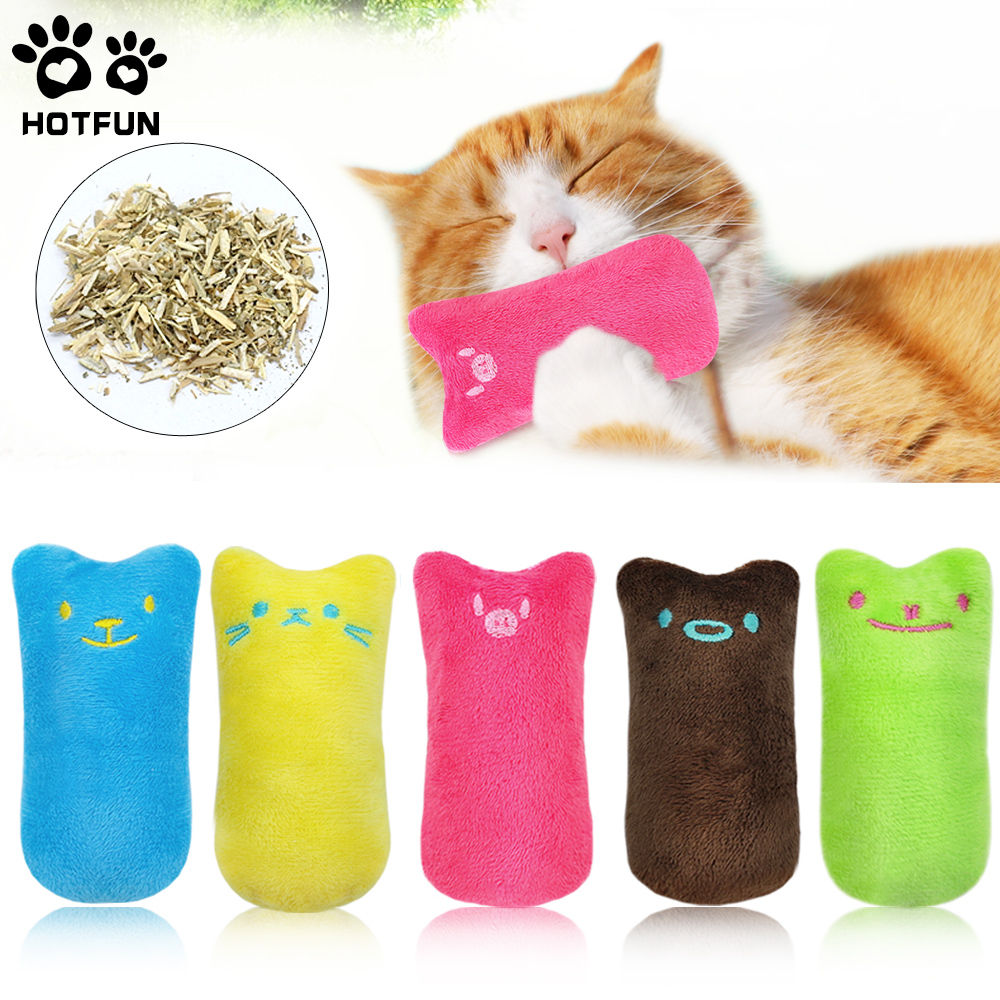 Hotfun Thumb Bite Cat Mint Toy Pet Kitten Chewing Toy Catnip Cat Toys Pillow Interactive Fancy Training Catnip Plush Toy 5 Color
