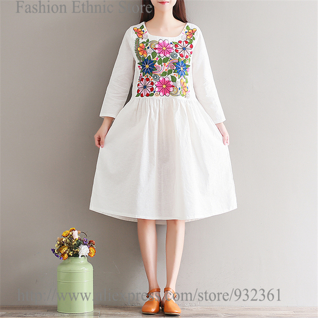 1e9029b8ec Vintage Mexican Ethnic Style Floral Embroidery Women Dress bohemian  Festival Girl Midi Dresses Gowns vestidos mexicanos