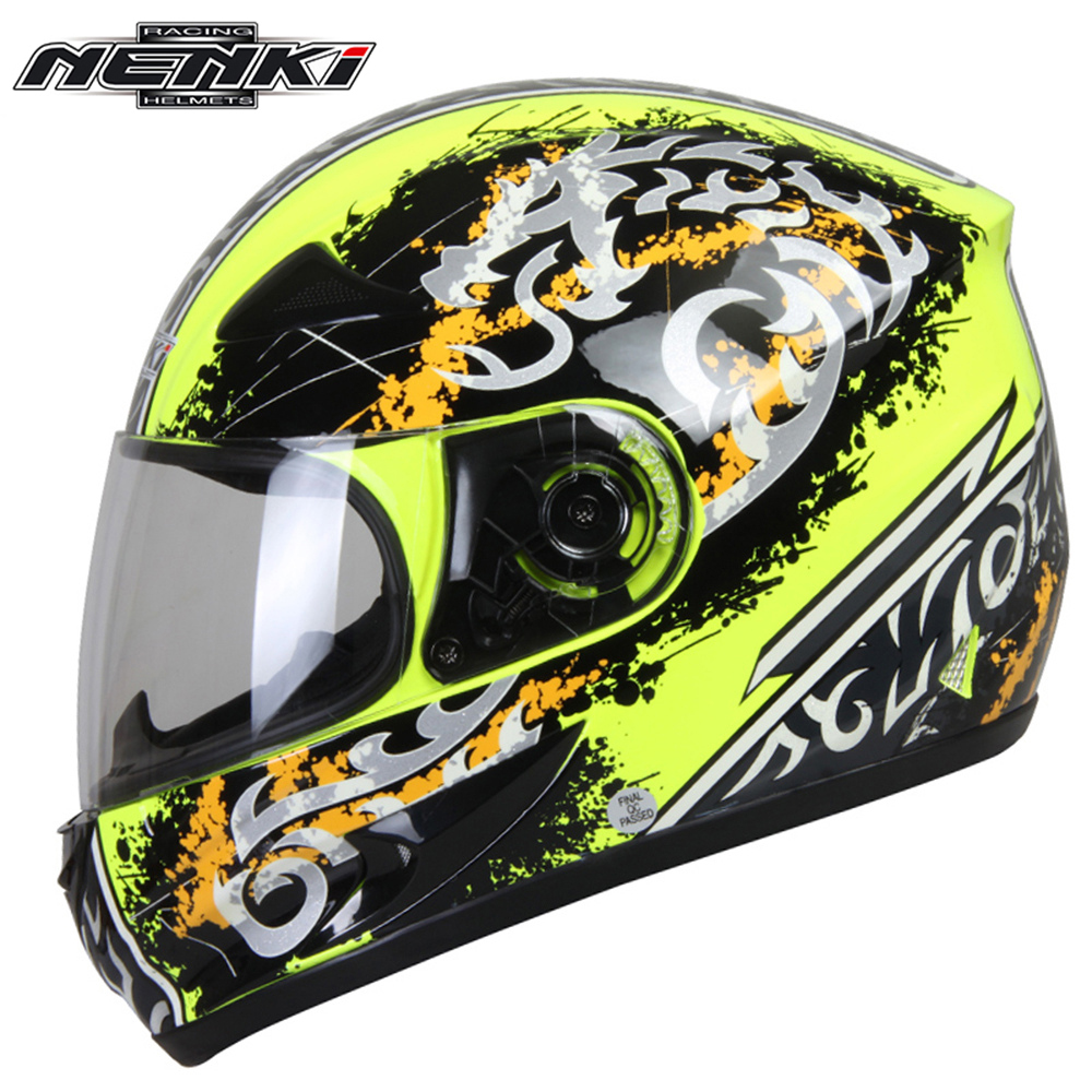 ФОТО 0NENKI Men Women Motorcycle Full Face Racing Helmet Motorbike Touring Street Motor Scooter Riding Helmet with Clear Lens Shield