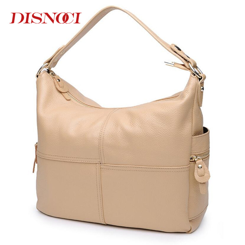 DISNOCI Women Genuine Leather Handbag New Brand Europe Luxury Real Leather Lady Fashion Shoulder Bags Tote Messenger Bag new 2017 fashion brand genuine leather women handbag europe and america oil wax leather shoulder bag casual women