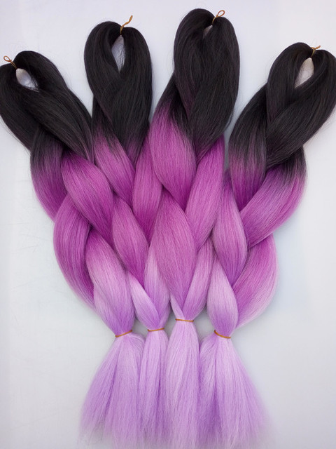 New Lavender Ombre 3toned Braiding Hair Extensions Synthetic Jumbo