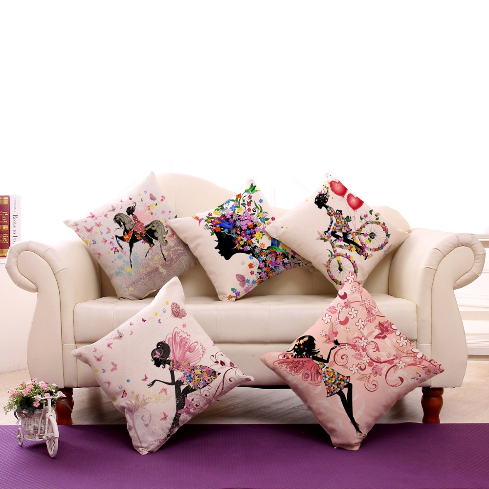 KYYZROZZZ Flower Butterfly Girl Cushion Cover Cotton Linen Pillow Case Throw Wedding Decorative Pillowcase Cushion Covers