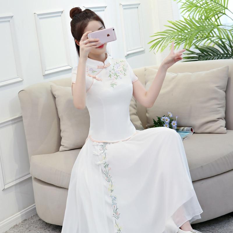 Courtes baby Robe 2018 Manches Chinois Qipao Femmes Jupe Ensembles D'été Blanc Pink Vintage Col Blanc Mandarin Large Cheongsam 2 Pc Vêtements Chemise wRwrxTA0q