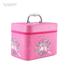 Women Large Capacity Professional Unicorn Makeup Organizer Fashion Cosmetic Bag 1 layer Storage Box Portable Pretty Suitcase недорого