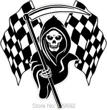 free shipping Racing Grim Reaper Skull Chequered Flags vinyl Wall Sticker Home Decor tx 512