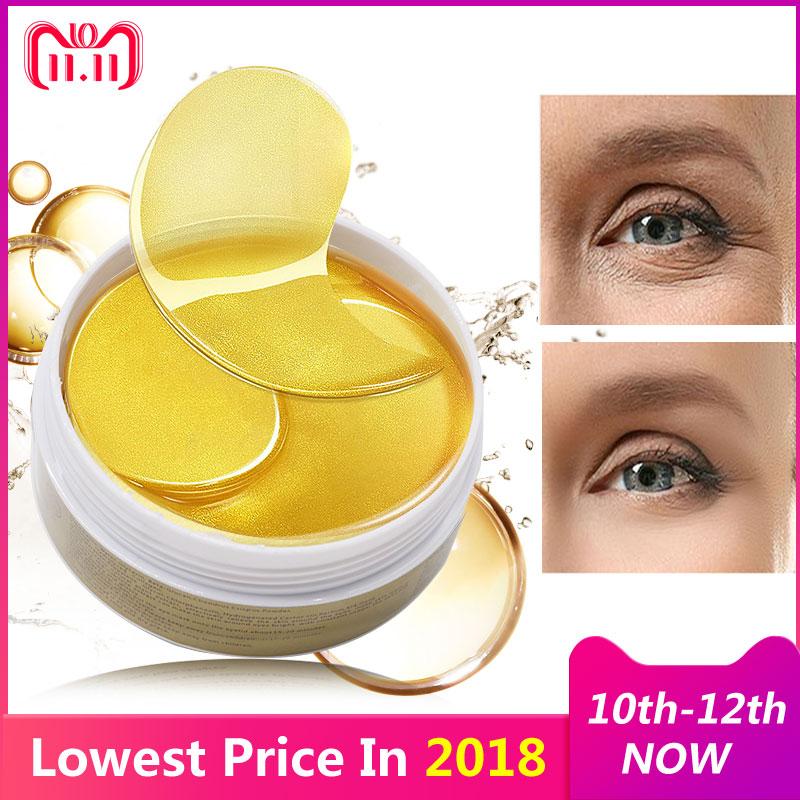 24K Gold Eye Masks 60pcs Collagen Eye Mask Ageless Sleep Mask Hydrogel Eye Patches Pads Dark Circles Moisturizing Face Mask Care
