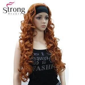 Image 5 - Długi WavyBrow n syntetyczne z pałąkiem na głowę peruka damska 3/4 peruki z pałąkiem na głowę kobiety pełna peruki kolorowe wybór