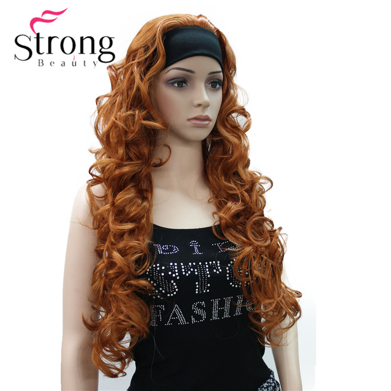 Image 5 - Long WavyBrow n Synthetic HeadBand Wig Ladies 3/4 Wigs With headband Women Full Wigs COLOUR CHOICES-in Synthetic None-Lace  Wigs from Hair Extensions & Wigs
