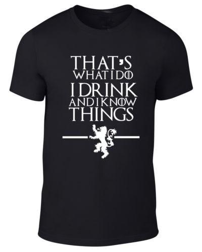 Jogo de Camisa Tronos T dos homens O Que Eu Faço para Beber e Eu sei que As Coisas impresso tee EUA plus size S-3XL preço especial tecido de algodão fino