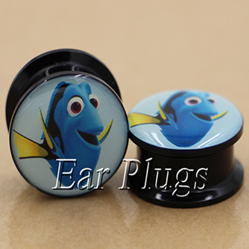 1 pair Dory ear plug gauges tunnel acrylic screw flesh tunnel body piercing jewelry PAP0285