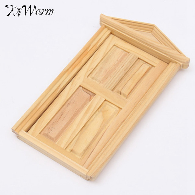 1/12 DIY Mini Miniature 4 Panel Wooden Classical Exterior Door Frame Doll  House Toys
