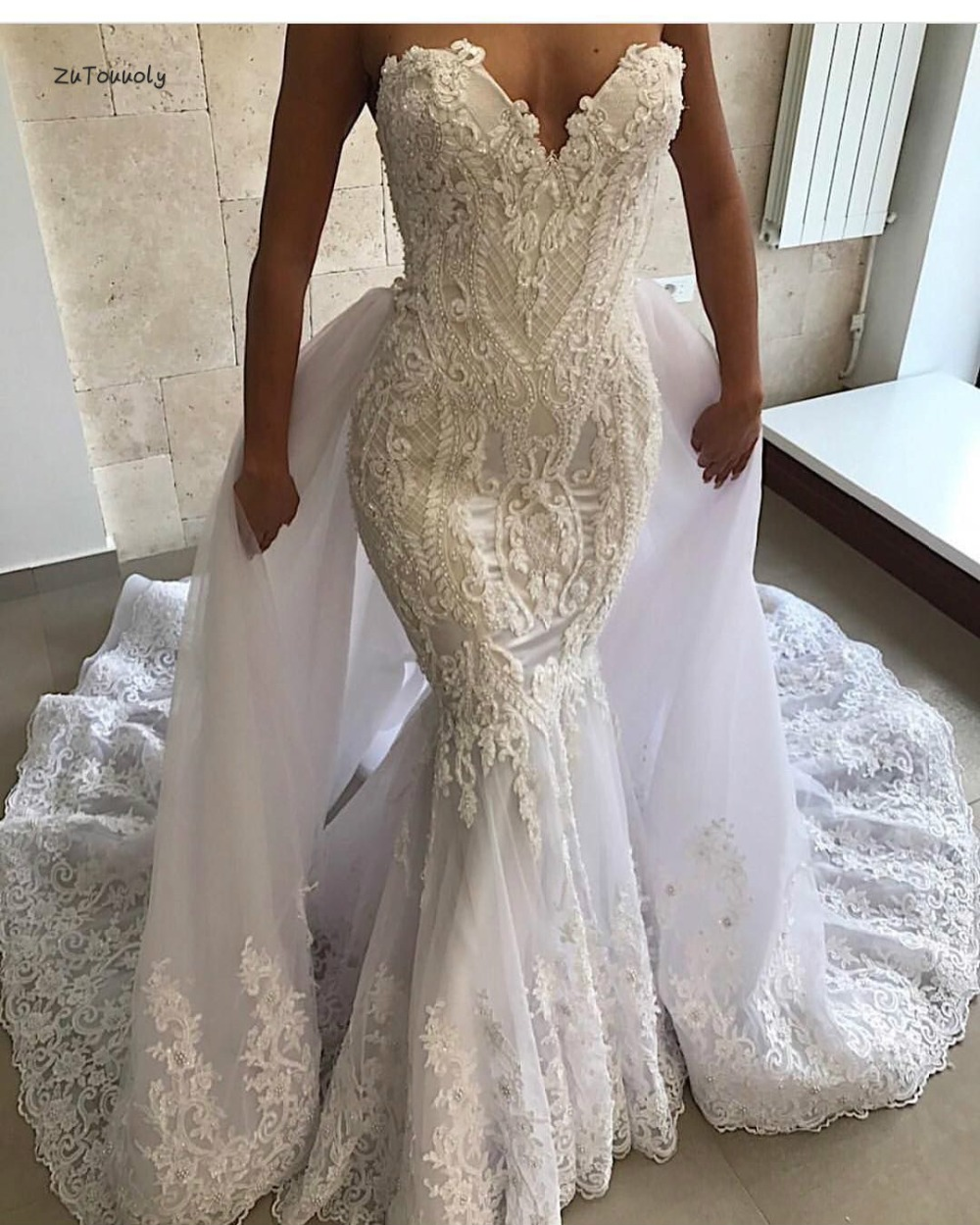 Beaded Wedding Dress With Detachable Train: Dramatic Mermaid Wedding Dress With Detachable Train