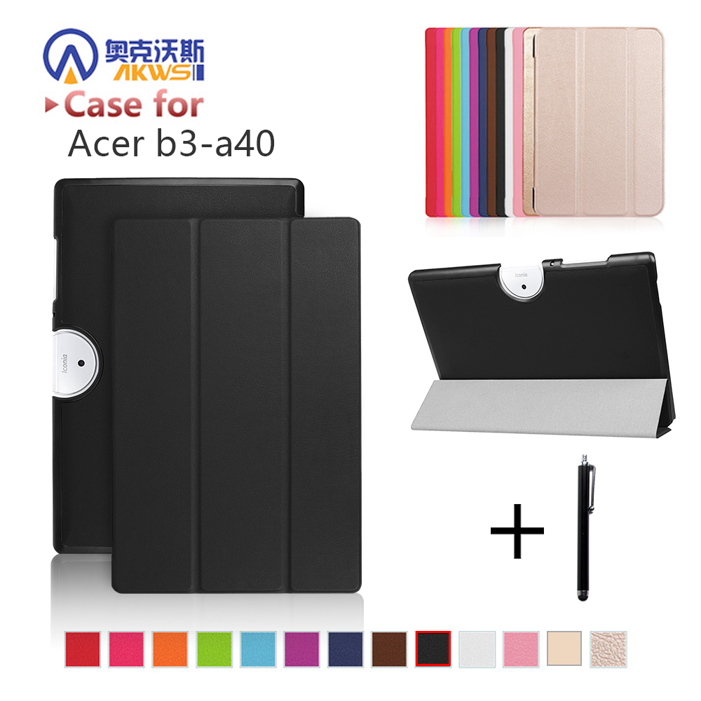 """cover case For Acer Iconia One 10 B3-A40 2017 release 10"""" tablet folio PU leather stand protective cover skin+free gift"""