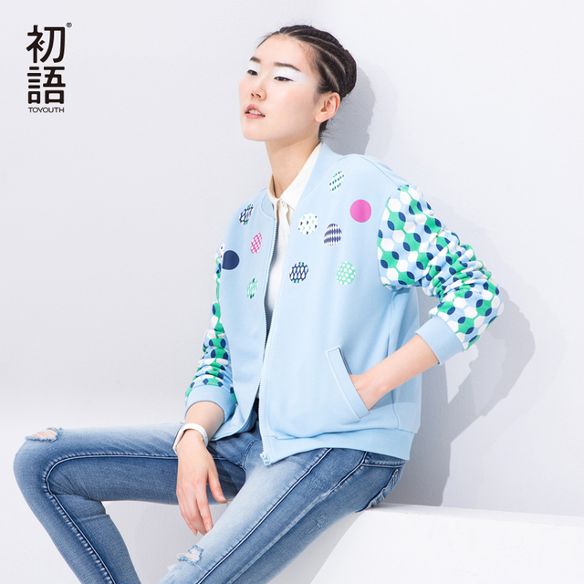 Toyouth Spring Autumn Lady Basic Jacket Stand Collar Loose Outerwear Women Preppy Style Polka Dot Short Jacket Fashion Tops