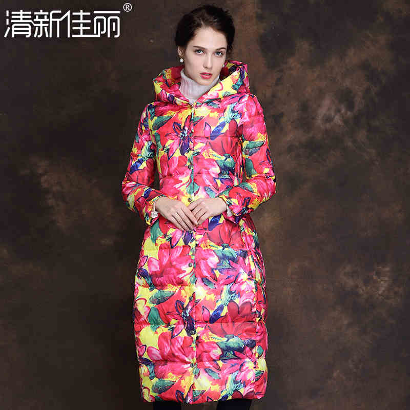 2015 New Hot Winter Thicken Warm Woman down jacket Coat Parkas Outwewear Hooded Printing Brand Luxury Mid Long Plus Size XL Slim